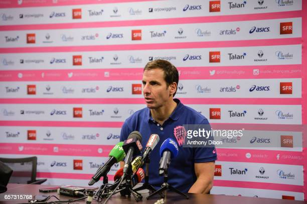 Gonzalo Quesada Head coach of Stade Francais during a press conference of the Stade Francais at Stade Jean Bouin on March 24 2017 in Paris France