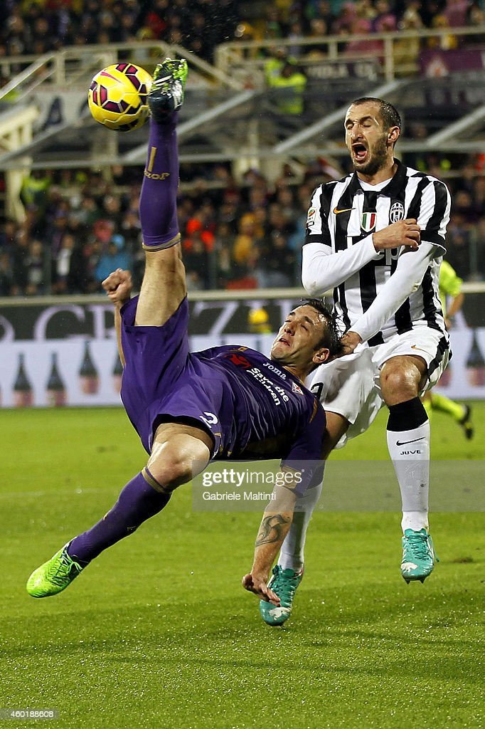 Gonzalo Rodriguez of ACF Fiorentina in action during the Serie A match between ACF Fiorentina and Juventus FC at Stadio Artemio Franchi on December 5, 2014 in Florence, Italy.