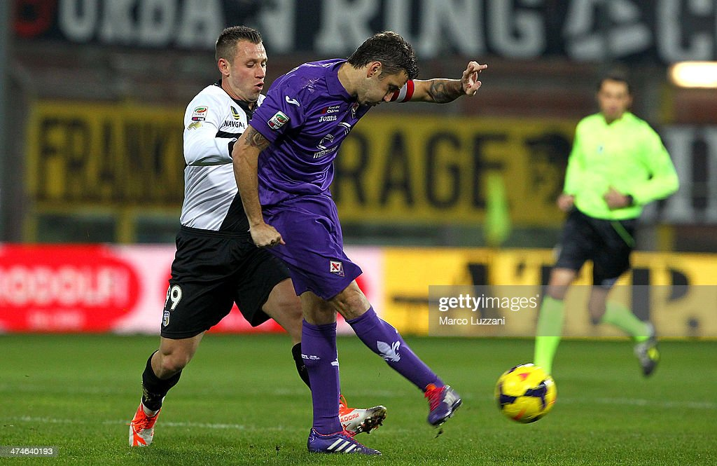 Gonzalo Rodriguez (R) of ACF Fiorentina is challenged by Antonio Cassano (L) of Parma FC during the Serie A match between Parma FC and ACF Fiorentina at Stadio Ennio Tardini on February 24, 2014 in Parma, Italy.