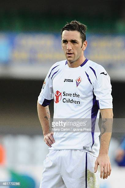 Gonzalo Rodriguez of ACF Fiorentina looks on during the Serie A match between AC Chievo Verona and ACF Fiorentina at Stadio Marc'Antonio Bentegodi on...