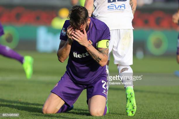Gonzalo Rodriguez of ACF Fiorentina reacts during the Serie A match between ACF Fiorentina and Cagliari Calcio at Stadio Artemio Franchi on March 12...