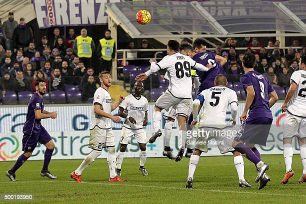 Gonzalo Rodriguez of ACF Fiorentina scores a goal during the Serie A match between ACF Fiorentina and Udinese Calcio at Stadio Artemio Franchi on...