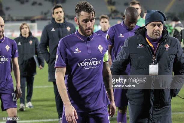 Gonzalo Rodriguez of ACF Fiorentina shows his dejection during the UEFA Europa League Round of 32 second leg match between ACF Fiorentina and...