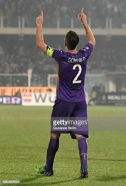 Gonzalo Rodriguez of Fiorentina ceebrates after scoring the goal 13 during the Serie A match between AC Cesena and ACF Fiorentina at Dino Manuzzi...