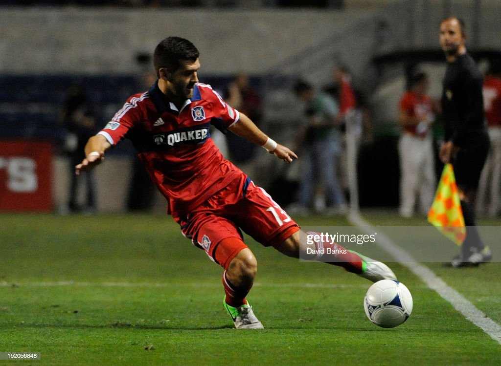 Gonzalo Segares #13 of Chicago Fire moves the ball against the Montreal Impact in an MLS match on September 15, 2012 at Toyota Park in Bridgeview, Illinois. The Chicago Fire defeated the Montreal Impact 3-1.