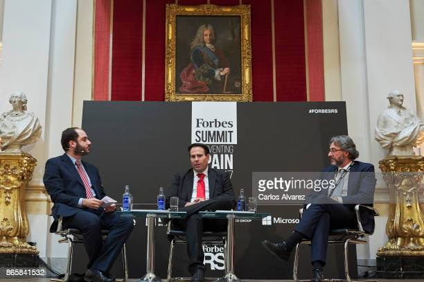 Gonzalo Toca Telefonica VP Security Pedro Pablo Perez and Walhalla Datacenter Service President Juan Antonio Gomez Bule attend the Forbes Summit...