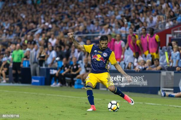 Gonzalo Veron of New York Red Bulls crosses the ball in the US Open Cup Final match against Sporting Kansas City at Children's Mercy Park on...
