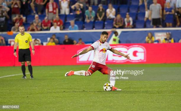 Gonzalo Veron of Red Bulls scores penalty kick goal during regular MLS game against DC United at Red Bull Arena Game ended in draw 3 3