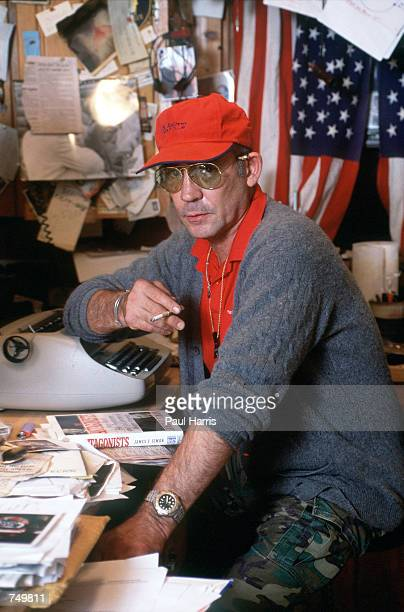 Gonzo journalist Hunter S Thompson sits at his typewriter in September 1990 at his home in Woody Creek near Aspen Colorado
