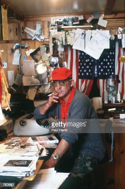 Gonzo journalist Hunter S Thompson sits in his home at September 1990 in Woody Creek near Aspen CO