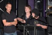 Goo Goo Dolls band members Mike Malinin John Rzeznik and Robby Takac attend a ceremony inducting The Goo Goo Dolls into the Guitar Center RockWalk at...
