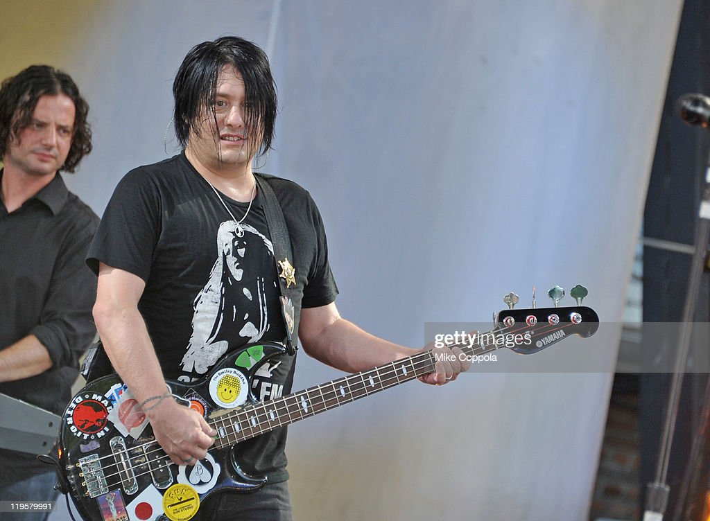 Goo Goo Dolls bass player <a gi-track='captionPersonalityLinkClicked' href=/galleries/search?phrase=Robby+Takac&family=editorial&specificpeople=778886 ng-click='$event.stopPropagation()'>Robby Takac</a> performs on ABC's 'Good Morning America' at Rumsey Playfield, Central Park on July 22, 2011 in New York City.