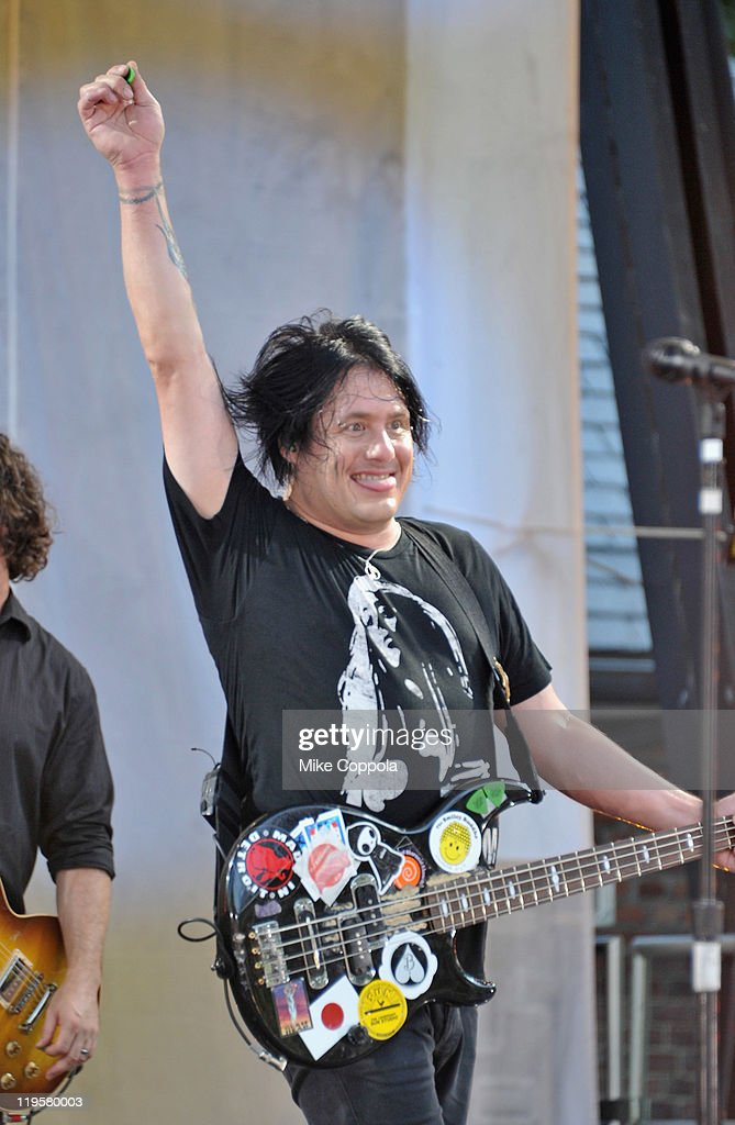 Goo Goo Dolls bass player Robby Takac performs on ABC's 'Good Morning America' at Rumsey Playfield, Central Park on July 22, 2011 in New York City.