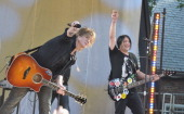 Goo Goo Dolls singer/guitar player John Rzeznik and bass player Robby Takac perform on ABC's 'Good Morning America' at Rumsey Playfield Central Park...