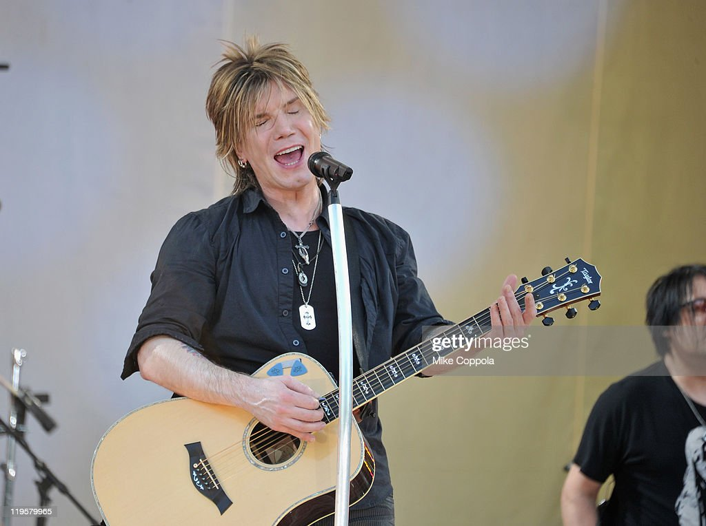 Goo Goo Dolls singer/guitar player <a gi-track='captionPersonalityLinkClicked' href=/galleries/search?phrase=John+Rzeznik&family=editorial&specificpeople=220876 ng-click='$event.stopPropagation()'>John Rzeznik</a> performs on ABC's 'Good Morning America' at Rumsey Playfield, Central Park on July 22, 2011 in New York City.