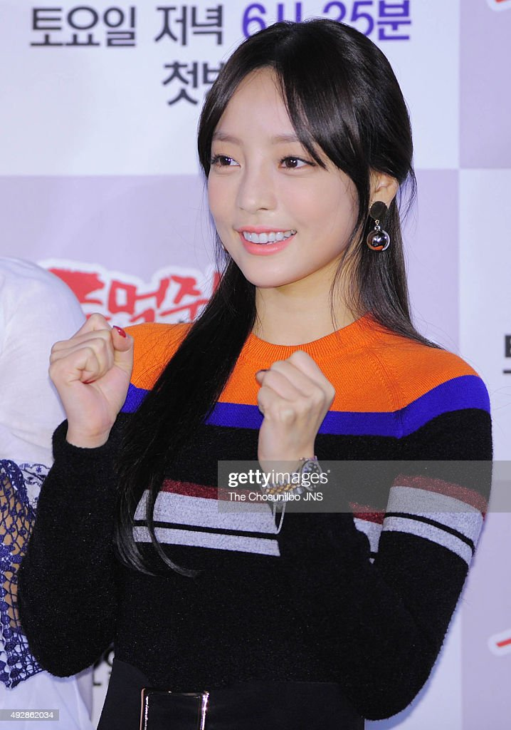 Goo Hara of <a gi-track='captionPersonalityLinkClicked' href=/galleries/search?phrase=Kara&family=editorial&specificpeople=844908 ng-click='$event.stopPropagation()'>Kara</a> attends the SBS 'Shaolin Clenched Fists' press conference at CGV on October 13, 2015 in Seoul, South Korea.