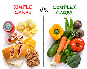 Table top image of food background with examples of good and bad carbohydrates (carbs). On one side there are food items rich in vitamins and healthy carbs found in fresh organic vegetables while on t