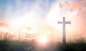 The cross on meadow sunrise background