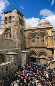 Good Friday procession entering Church of the Holy Sepulchre.