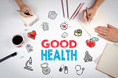 Good Health concept. Healty lifestyle background. The meeting at the white office table.
