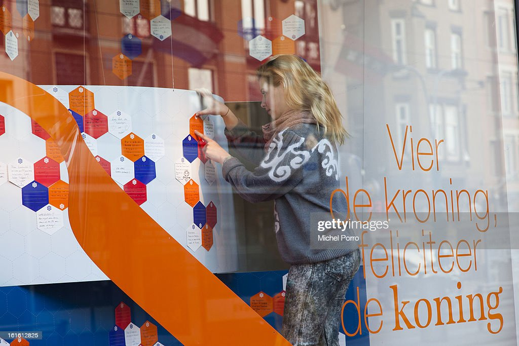 . Good luck and congratulations messages to Prince Willem Alexander and Princess Maxima ('Celebrate the coronation, Congratulate the King') and thank you notes to Queen Beatrix of The Netherlands are displayed at De Bijenkorf department store in preparation of the upcoming 30 April 2013 crowning on February 13, 2013 in Amsterdam, Netherlands.