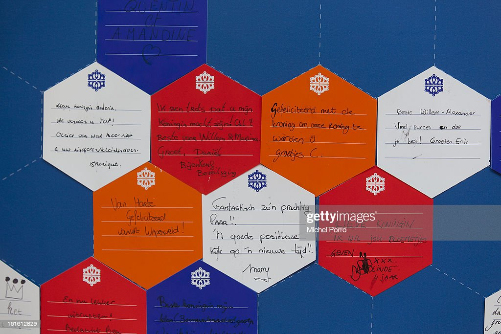 . Good luck and congratulations messages to Prince Willem Alexander and Princess Maxima and thank you notes to Queen Beatrix of The Netherlands are displayed at De Bijenkorf department store in preparation of the upcoming 30 April 2013 crowning on February 13, 2013 in Amsterdam, Netherlands.