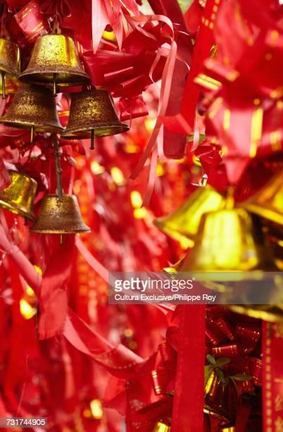 Good luck religious offerings near temple, Ningbo, Zhejiang, China