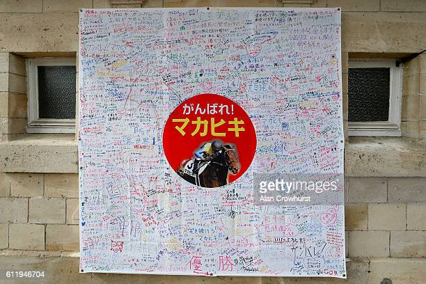 A 'Good Luck' sheet for Japanese horse Makahiki is signed by many Japanese racegoersat Chantilly racecourse on October 02 2016 in Chantilly France