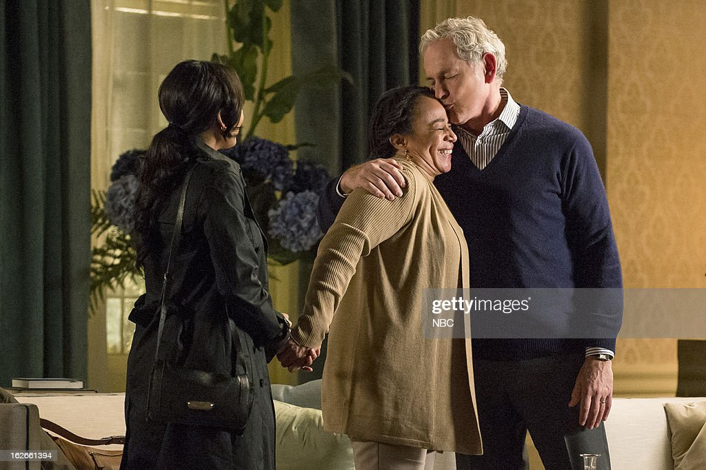 DECEPTION -- 'Good Luck With Your Death' Episode 109 -- Pictured: (l-r) Meagan Good as Joanna Padget Locasto, S. Epatha Merkerson as Beverly Padget, Victor Garber as Robert Bowers --