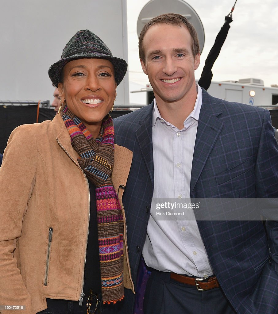 'Good Morning America' anchor Robin Roberts and NFL player Drew Brees of the New Orleans Saints on ABC's 'Good Morning America' at the House of Blues on February 1, 2013 in New Orleans, Louisiana.