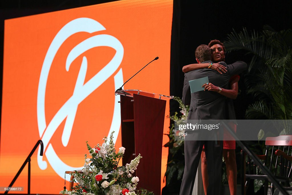 Good Morning America anchor Robin Roberts and Tyler Summitt during the Pat Summitt Celebration of Life at ThompsonBoling Arena on July 14 2016 in...