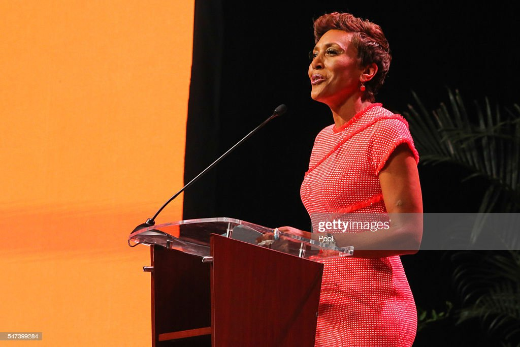 Good Morning America anchor Robin Roberts emcees during the Pat Summitt Celebration of Life at ThompsonBoling Arena on July 14 2016 in Knoxville...