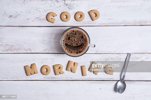 Good morning, spelled with alphabet cookies