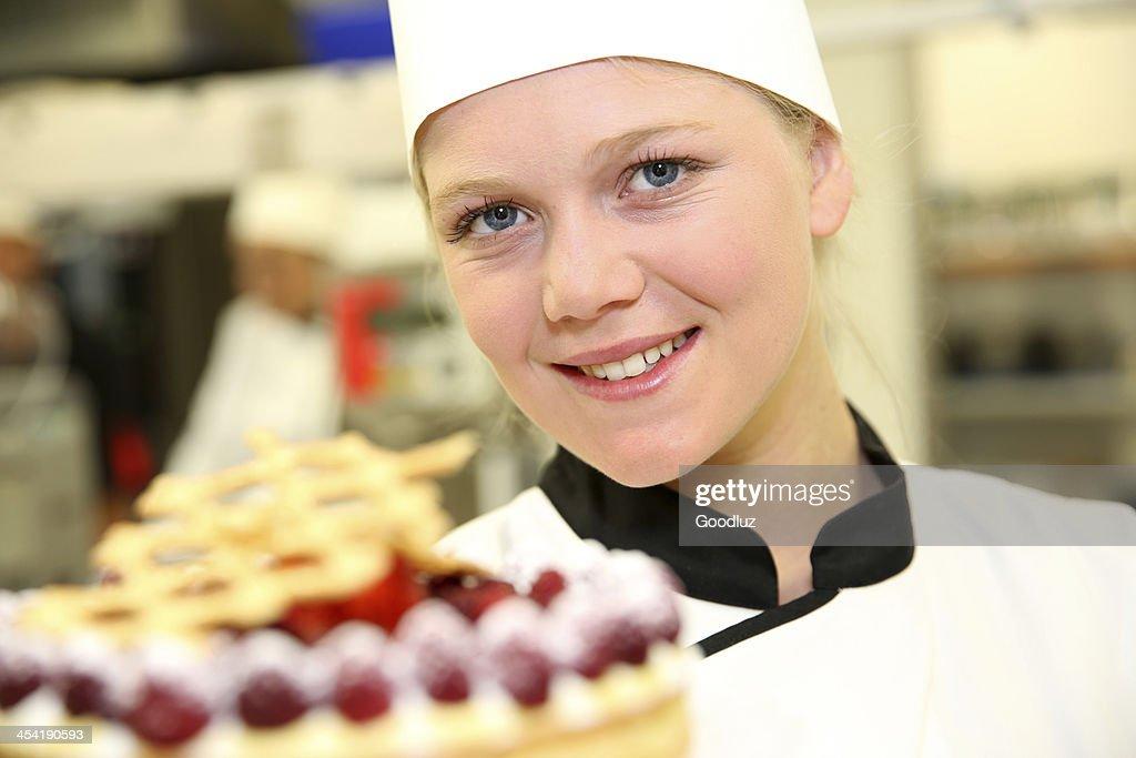 Resultado positivo para la primera una porción de torta en la escuela : Foto de stock
