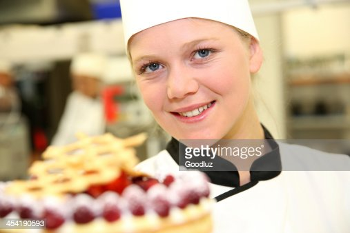 Good result for the first cake at school : Stock Photo