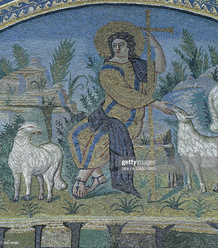 Good Shepherd detail from a sacred scene mosaic lunette from the northern arm Mausoleum of Galla Placidia Ravenna EmiliaRomagna Detail Italy 5th...
