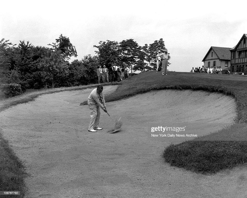 Goodall Golf tournamentFresh Meadow Golf Ccountry Club New YorkWalter Hagen in trap at 9th hole two other balls in rear in trap are those of wood and...