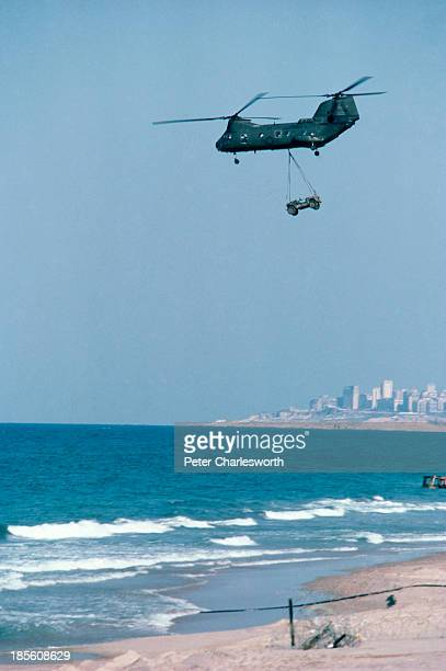 Goodbye Lebanon a chinook helicopter flies over the coast of Lebanon as American troops withdrew from Beirut to ships lying offshore including the US...