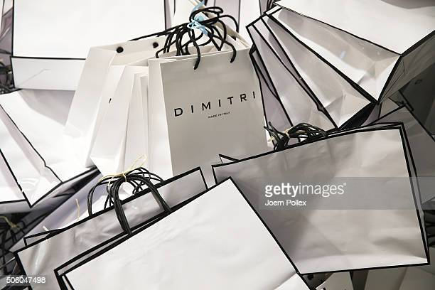 Goodie bags are seen backstage ahead of the Dimitri show during the MercedesBenz Fashion Week Berlin Autumn/Winter 2016 at Brandenburg Gate on...
