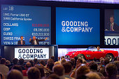 Gooding Company auctioneers auction a 1961 Ferrari 250 GT SWB California Spyder for $11000 during the 2014 Pebble Beach Concours d'Elegance in Pebble...