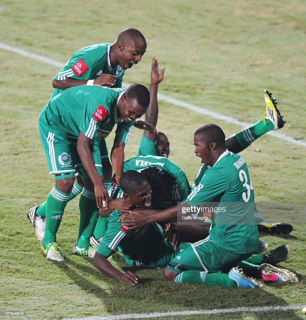 Goodman Dlamini celebrates Amazulu's second goal during the Absa Premiership match between AmaZulu and Black Leopards from Princess Magogo Stadium on May 01, 2013 in Kwa Mashu, South Africa.