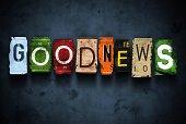 Goodnews word on vintage broken car license plates, concept sign