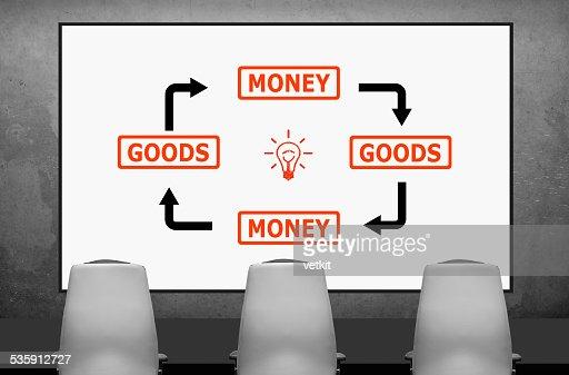 goods and money scheme : Stock Photo