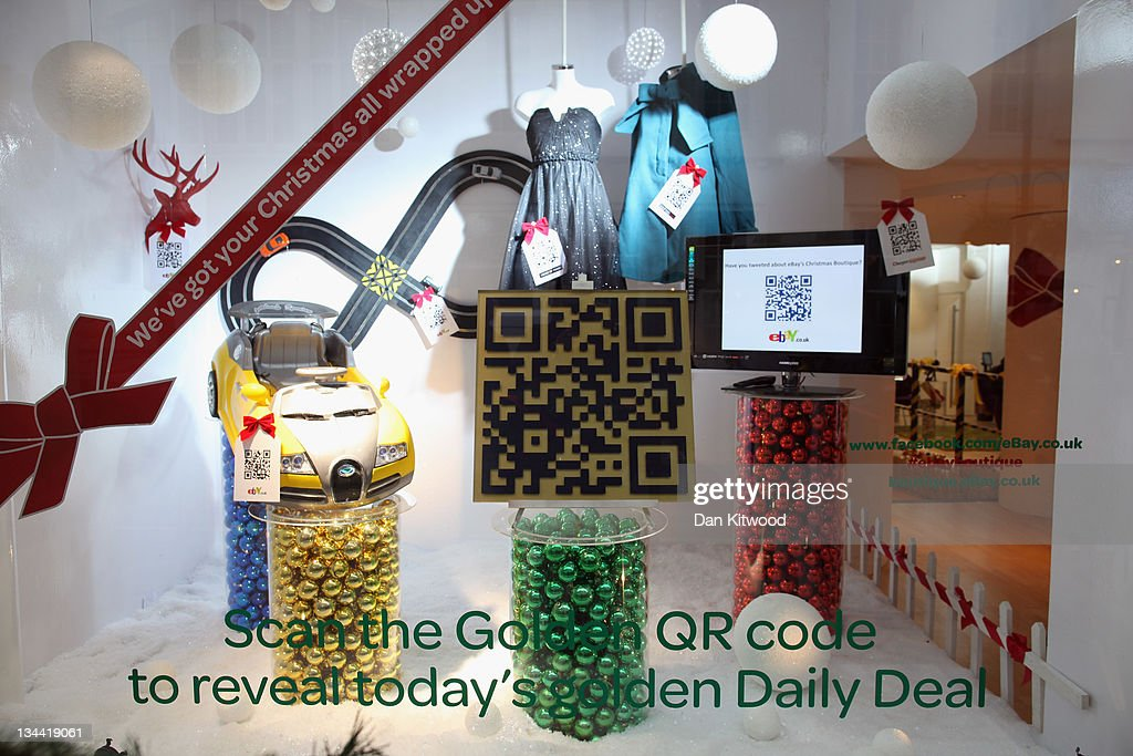 Goods are displayed in the window of the new Ebay store on December 1, 2011 in central London, England. Ebay have launched the first ever quick response code shopping emporium allowing customers to browse in store and then order online using mobile phones and tablets inside the boutique whilst it is open for the next five days.