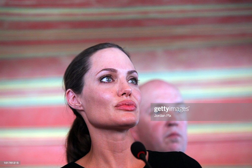 U.N. Goodwill Ambassador and Hollywood actress Angelina Jolie holds a press conference with UNHCR High Commissioner Antonio Guterres (not pictured) during her visit to Al Zaatari camp for Syrian refugees accompanied by Jordanian Foreign Minister Nasser Judeh, on September 11, 2012 in Al Zaatari, Jordan.