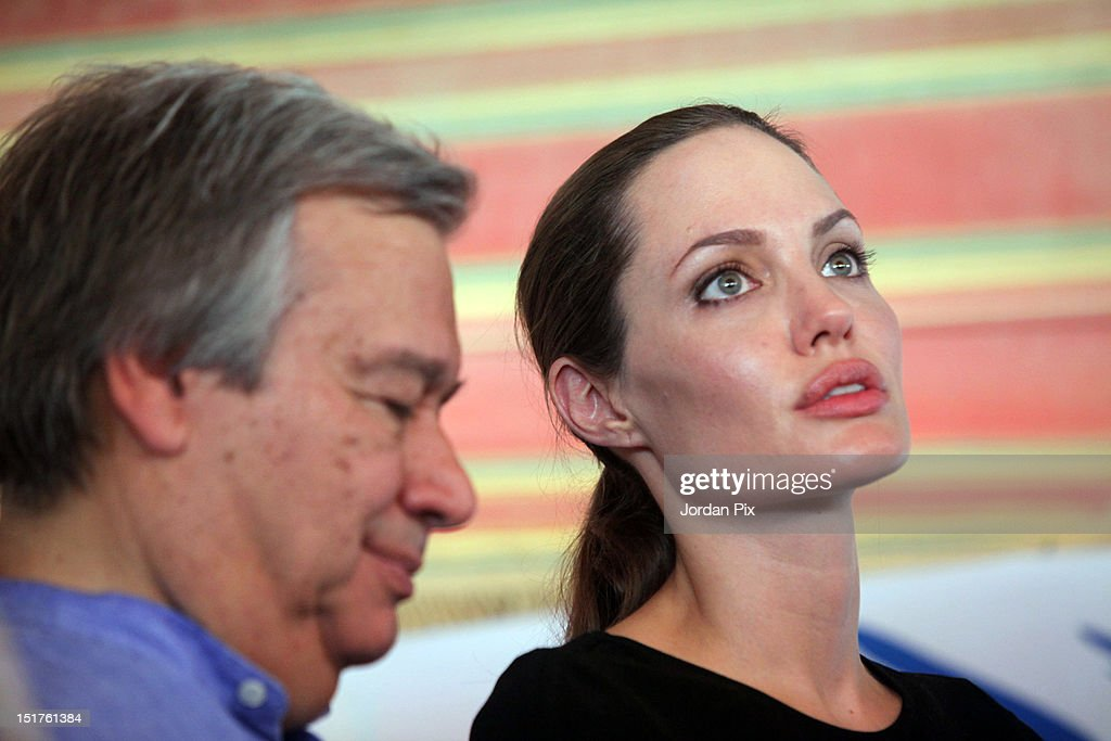 U.N. Goodwill Ambassador and Hollywood actress <a gi-track='captionPersonalityLinkClicked' href=/galleries/search?phrase=Angelina+Jolie&family=editorial&specificpeople=201591 ng-click='$event.stopPropagation()'>Angelina Jolie</a> holds a press conference with UNHCR High Commissioner Antonio Guterres (L) during her visit to Al Zaatari camp for Syrian refugees accompanied by Jordanian Foreign Minister Nasser Judeh, on September 11, 2012 in Al Zaatari, Jordan.