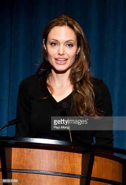 Goodwill Ambassador Angelina Jolie attends the 2009 World Refugee Day at the National Geographic Society on June 18 2009 in Washington DC