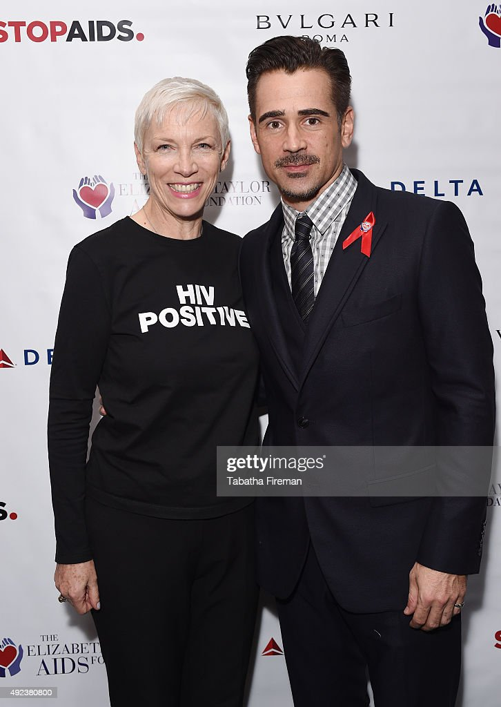 Goodwill Ambassador Annie Lennox and actor and Ambassador to The Elizabeth Taylor AIDS Foundation Colin Farrell attend press event to announce a new push to fast-track the end of the AIDS epidemic in the Mulanje District of Malawi at Getty Images Gallery on October 12, 2015 in London, England. The initiative is being led by The Elizabeth Taylor AIDS Foundation and STOPAIDS.