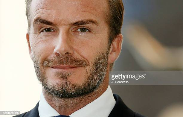 Goodwill Ambassador David Beckham attends the Unveiling of A Digital Installation To Bring The Voices Of Young People To the UN General Assembly at...