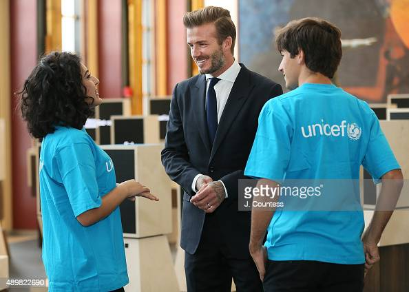 Goodwill Ambassador David Beckham speaks with UNICEF Voices of Initiative youth Noor Samee and Rodrigo Bustamante at the Unveiling of A Digital...